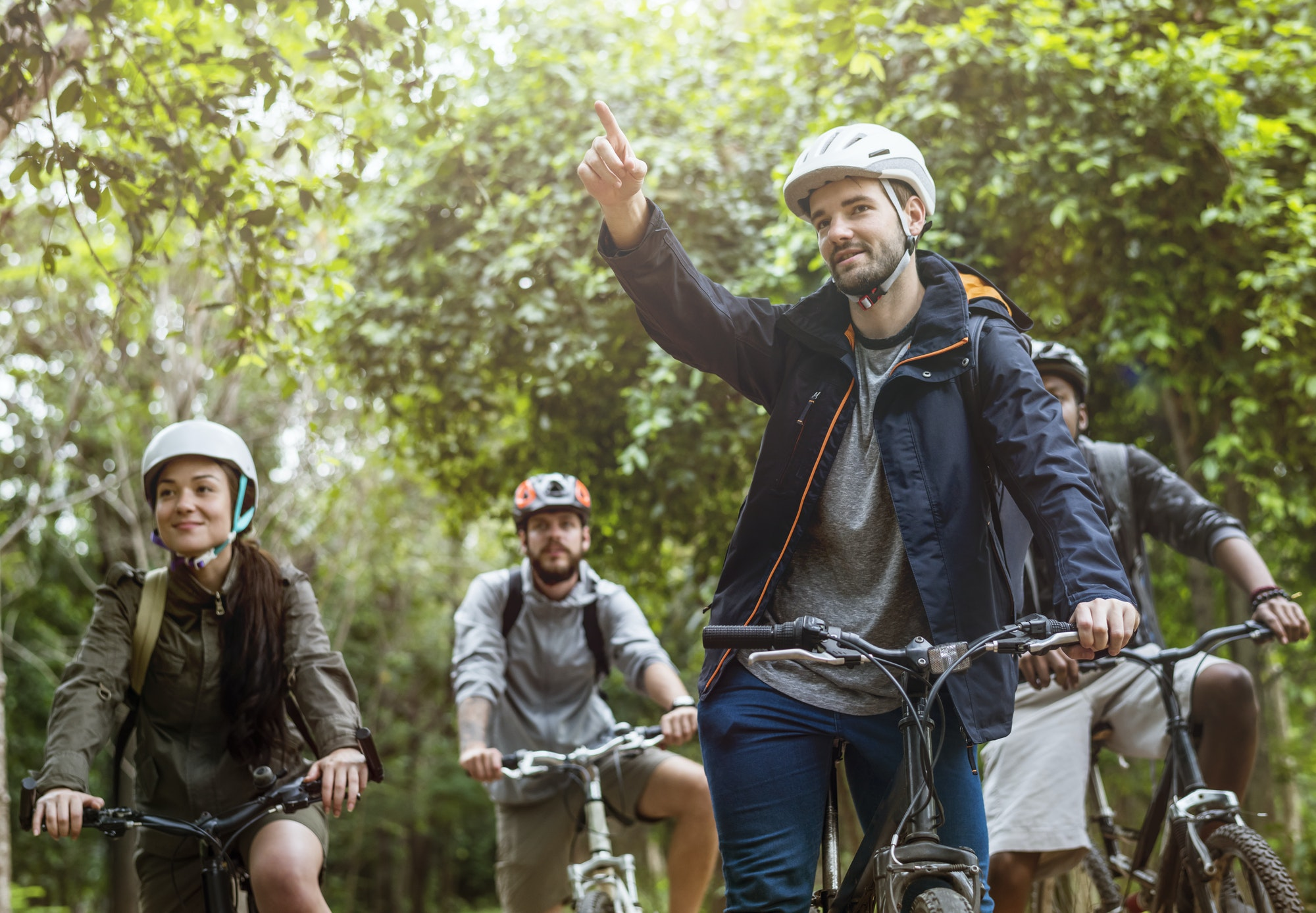 People biking together